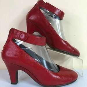 Aerosoles Drapery Red Leather Ankle Strap Pumps